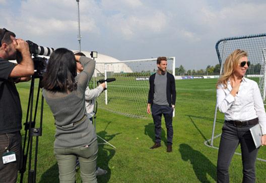 Centro di allenamento Juventus (Vinovo, To) - Claudio Marchisio sul set per la campagna AIRC - Un Gol per la Ricerca 2012 (organizzazione SportWide Group)