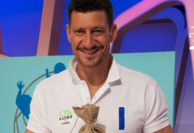 Gigi Mastrangelo testimonial Oxfam - Sfido la fame 2015 nella trasmissione Detto Fatto di Rai 2