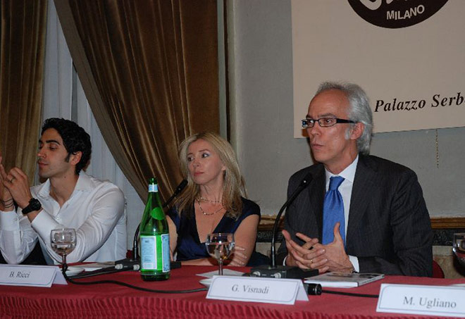 Filippo Magnini, Barbara Ricci, Gianni Visnadi - Milano, Circolo della Stampa, maggio 2009: presentazione libro